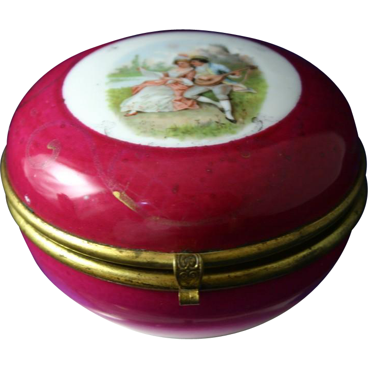 Antique Royal Vienna Porcelain Hinged Box with Scene of Lovers Playing Music