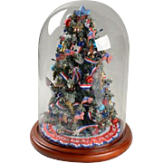 Vintage DANBURY MINT God Bless America Miniature Light Up Christmas Tree Under Glass Dome Americana