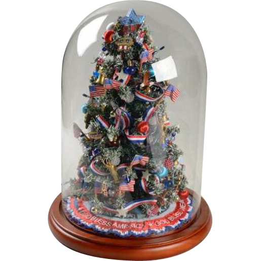 Vintage DANBURY MINT God Bless America Miniature Light Up  - Miniature Christmas Trees With Lights
