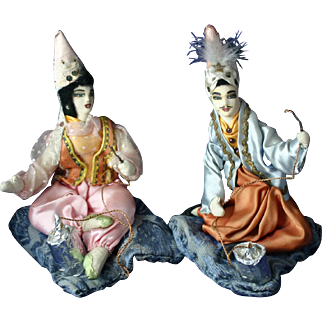 Rare Pair of Vintage Turkish Smoking Sultan and Sultana Dolls Fantastic Costumes
