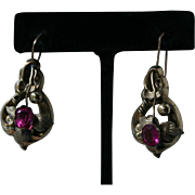 Rare GEORGIAN Pendant Earrings in Gold with Pink Pastes Grape Leaf Motif