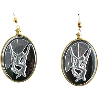Exquisite ART DECO Intaglio Crystal Glass Nude Fairy Earrings in the style of Lalique