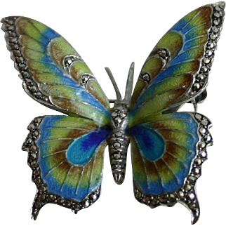 Alice Caviness Sterling and Enamel Butterfly Brooch Embellished with Marcasites