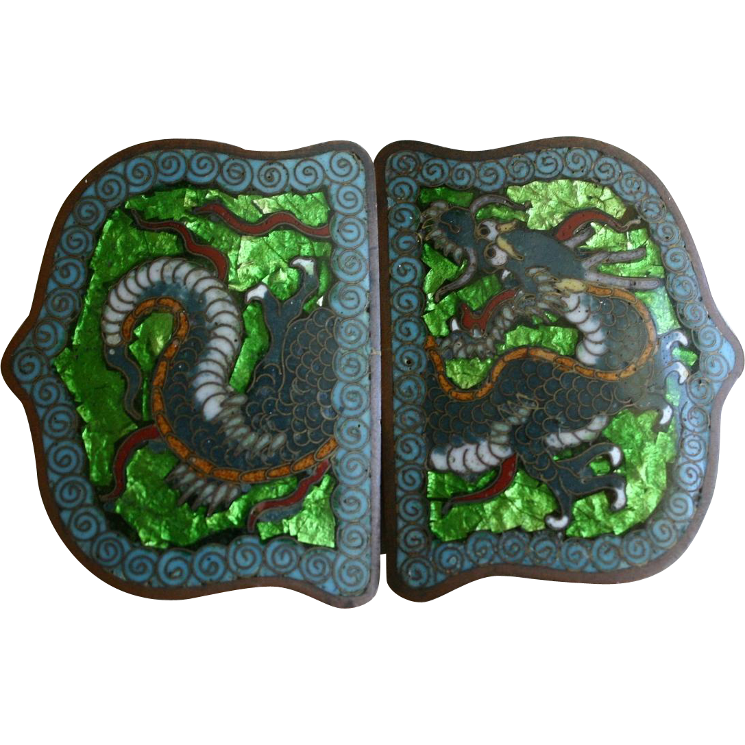 Rare Japanese Champleve and Ginbari Foil Enamel Cloisonne Dragon Belt Buckle