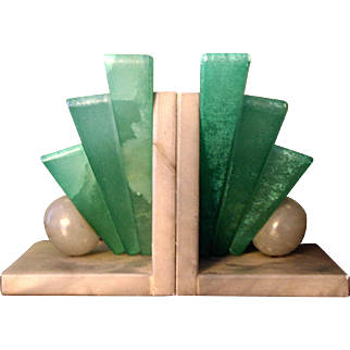 Pair of ART DECO Geometric Hand Carved Alabaster Bookends from Italy