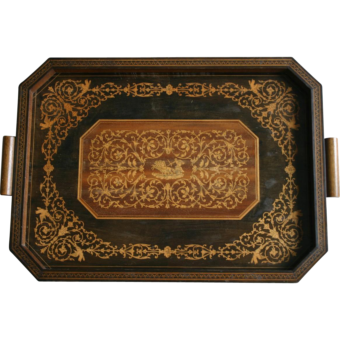 Gorgeous ITALIAN Intarsia Marquetry Tray with Florentine Design Inlaid Wood