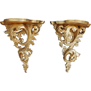 Pair of Carved Antique Italian Giltwood Baroque Wall Brackets