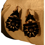 Antique Sentimental Victorian Onyx and Seed Pearl Gold Sweetheart Earrings
