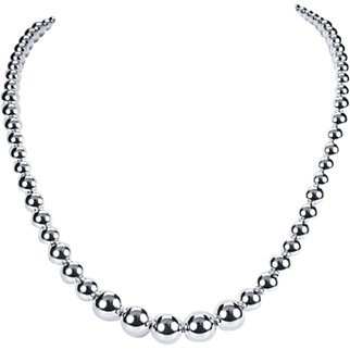 Classy Sterling Graduated Bead Necklace