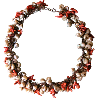Extremely RARE Antique Tasmanian Maireener Shell and Coral Necklace