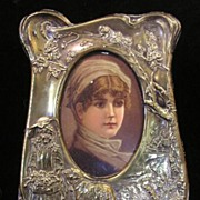 Adorable Victorian Figural Picture Frame MARY HAD A LITTLE LAMB