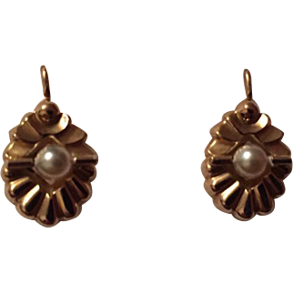 Antique French Napoleon III Period 18k Gold and Pearl Dormeuse Earrings