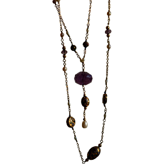 Stunning Vintage CHINESE EXPORT Amethyst Champleve Enamel and Pearl Sautoir Necklace