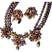 RARE ~ORIGINAL BY ROBERT~ Purple Rhinestone and Pearl Parure Necklace and Earrings