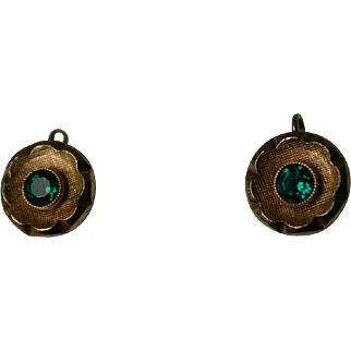 Fine Pair of ART DECO Rolled Gold and Emerald Paste Flower Earrings
