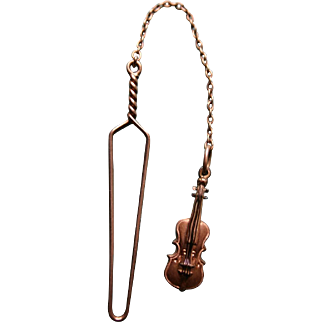 Extremely RARE Victorian Glove Buttoner in 14k Gold with Figural Violin Charm