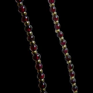 Estate Vintage Strand of Garnet and Gold Fill Beads