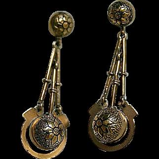 Fine Antique Victorian Taille D'Epargne Enamel Pendant Earrings in 14k Gold