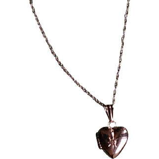 Adorable Petite Heart Locket with Diamond Accent in 14k White Gold Perfect for baby, little girl or antique doll