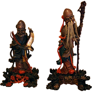 Fine Pair of Antique Chinese  Carved Polychromed Gilt Lacquer Scholar Figures 1900