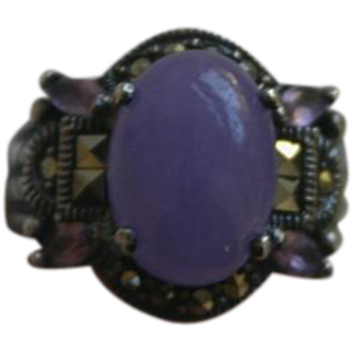 Beautiful Lavender Jade Amethyst and Marcasite Ring in Sterling Silver Sz 7