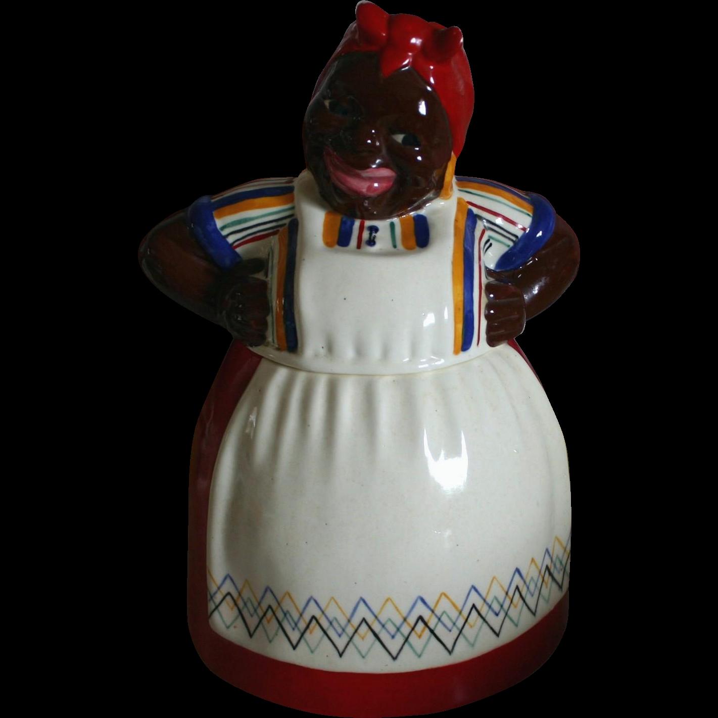 Darling Brayton Laguna Mammy In Red Dress Cookie Jar
