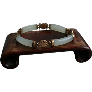 Gorgeous Old Chinese White Jade and 10K Gold Bracelet