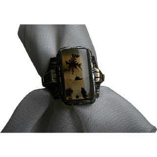 Fascinating and RARE Antique PICTURE AGATE Ring by Ostby and Barton Titanic Historical Story