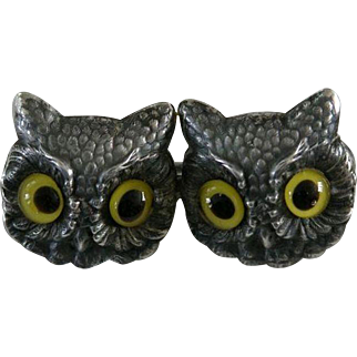 Rare Antique UNGER BROTHERS Victorian Sterling Pin with Figural Owls