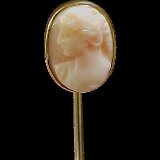 Antique Victorian Angel Skin Cameo Stickpin in 14k Gold