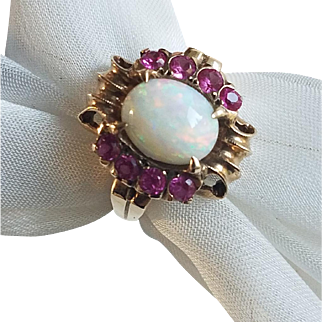 Vintage RETRO 1940s HOLLYWOOD GLAM Opal and Ruby Ring in 10K Gold Sz 8