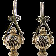 Outstanding Victorian Taille d'Epargne Tracery Enamel Gold Urn Earrings