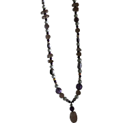 Vintage Rose Quartz and Amethyst Beaded Heart Necklace