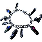 Whimsical Vintage Comical Jeweled Rhinestone Shoe Charm Bracelet