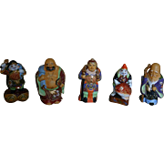 Vintage Set of KUTANI MORIAGE Gods of Prosperity Porcelain Figures