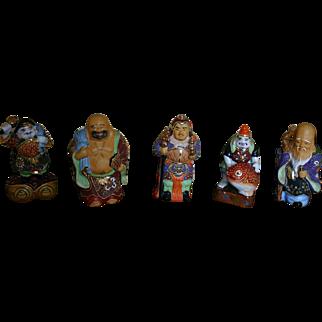 Vintage Set of KUTANI MORIAGE Gods of Prosperity Porcelain Figures