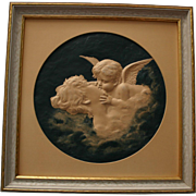 Charming Art Nouveau LOVE'S DREAM Cupid Kissing Lady Embossed 3-D Print
