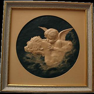 Charming Art Nouveau LOVE'S DREAM Cupid Kissing Lady Embossed 3-D Print