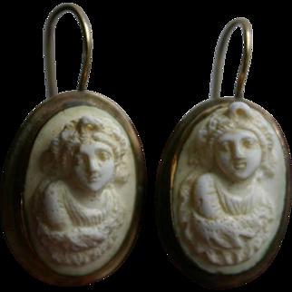 Antique Victorian Era Lava Cameo Earrings in 14k Gold Grand Tour Era 1870s