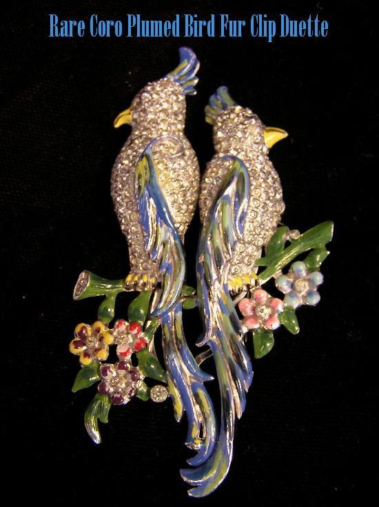 Magnificent CORO Cockatoo Duette Enamel & Pave Rhinestone