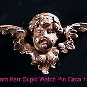 WILLIAM KERR Art Nouveau Sterling Angel Baby Watch Pin BOOK PIECE!
