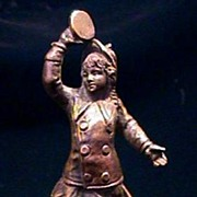Rare Austrian Miniature Bronze Victorian Girl Playing tambourine