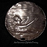 Outstanding  Art Nouveau Calling Card Tray Vide Poche with Ophelia in the water