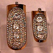 Dazzling! Art Deco REJA Pave Jeweled Fur Clips Matching Pair