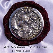 Art Nouveau Figural Lady Coin Purse Tam o'Shanter with cut steel beads
