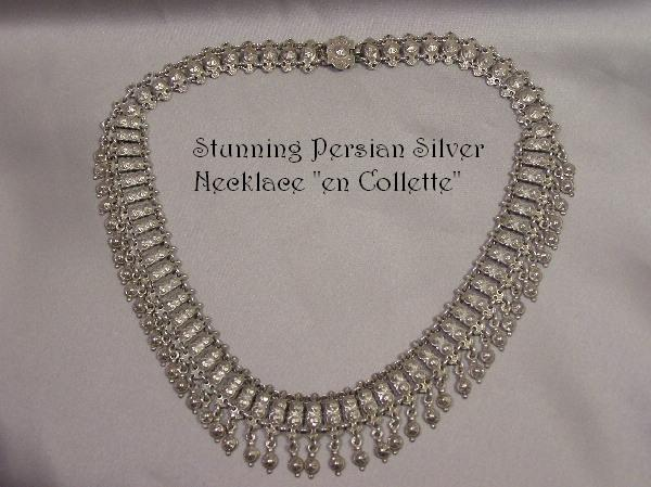 Exotic Antique Silver Cleopatra Collette Necklace
