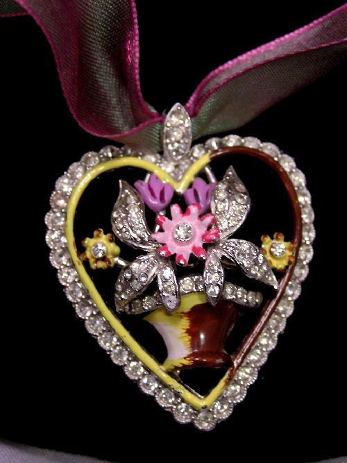 Beautiful 1930's Enamel Rhinestone Flower Basket Heart Pendant on Silk