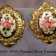 Lovely 1920's Earrings with Pink Enamel Roses