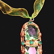 Gorgeous 1920's CZECHOSLOVAKIAN Deco Pendant Peridot Green Stones