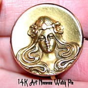 Lovely ~ART NOUVEAU~ 14K Gold Watch Pin w/ Mucha Maiden
